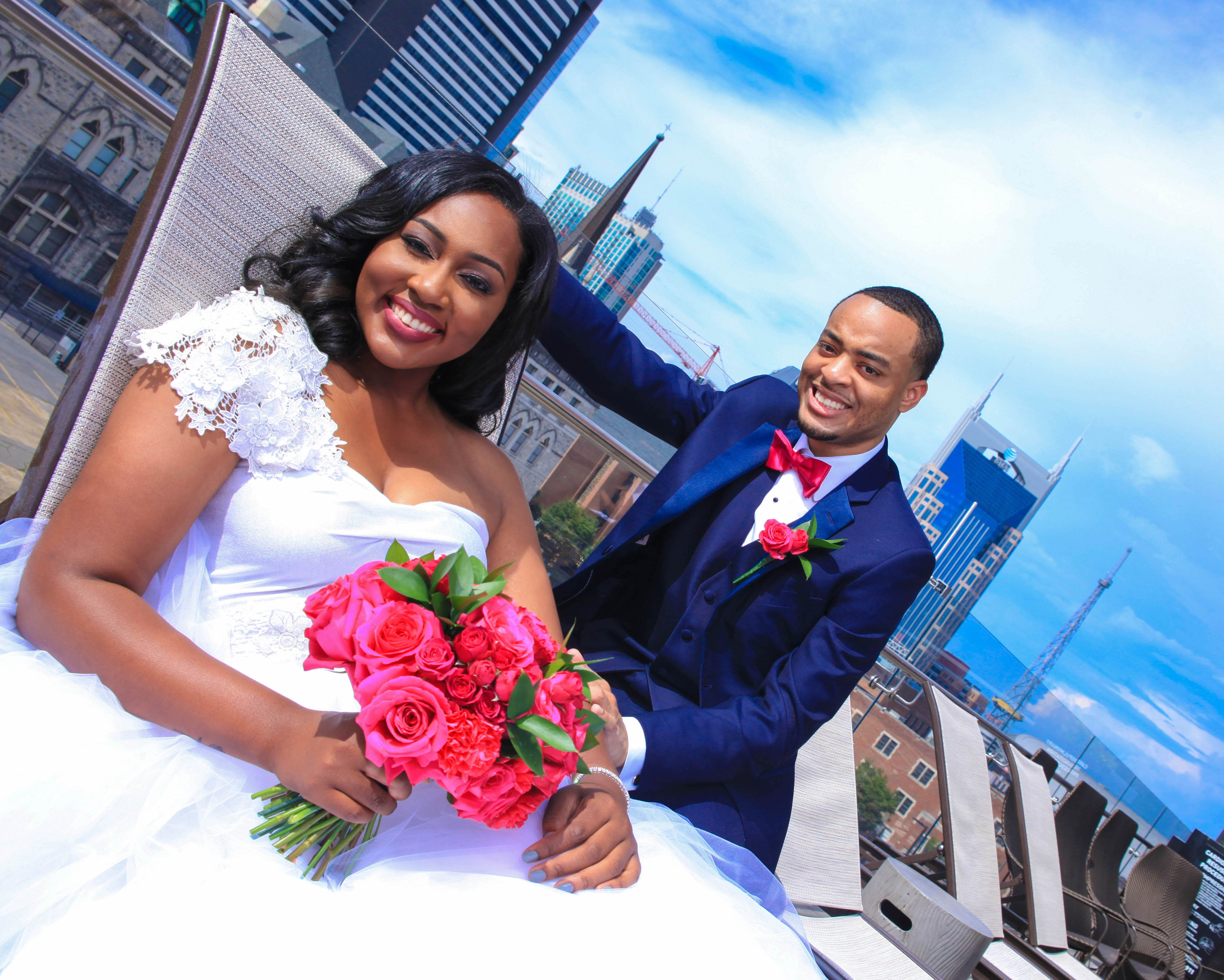 Rooftop photos for bride and groom