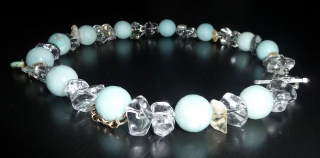 Amazonite Rck Qtz Necklace-Niksaran Designs