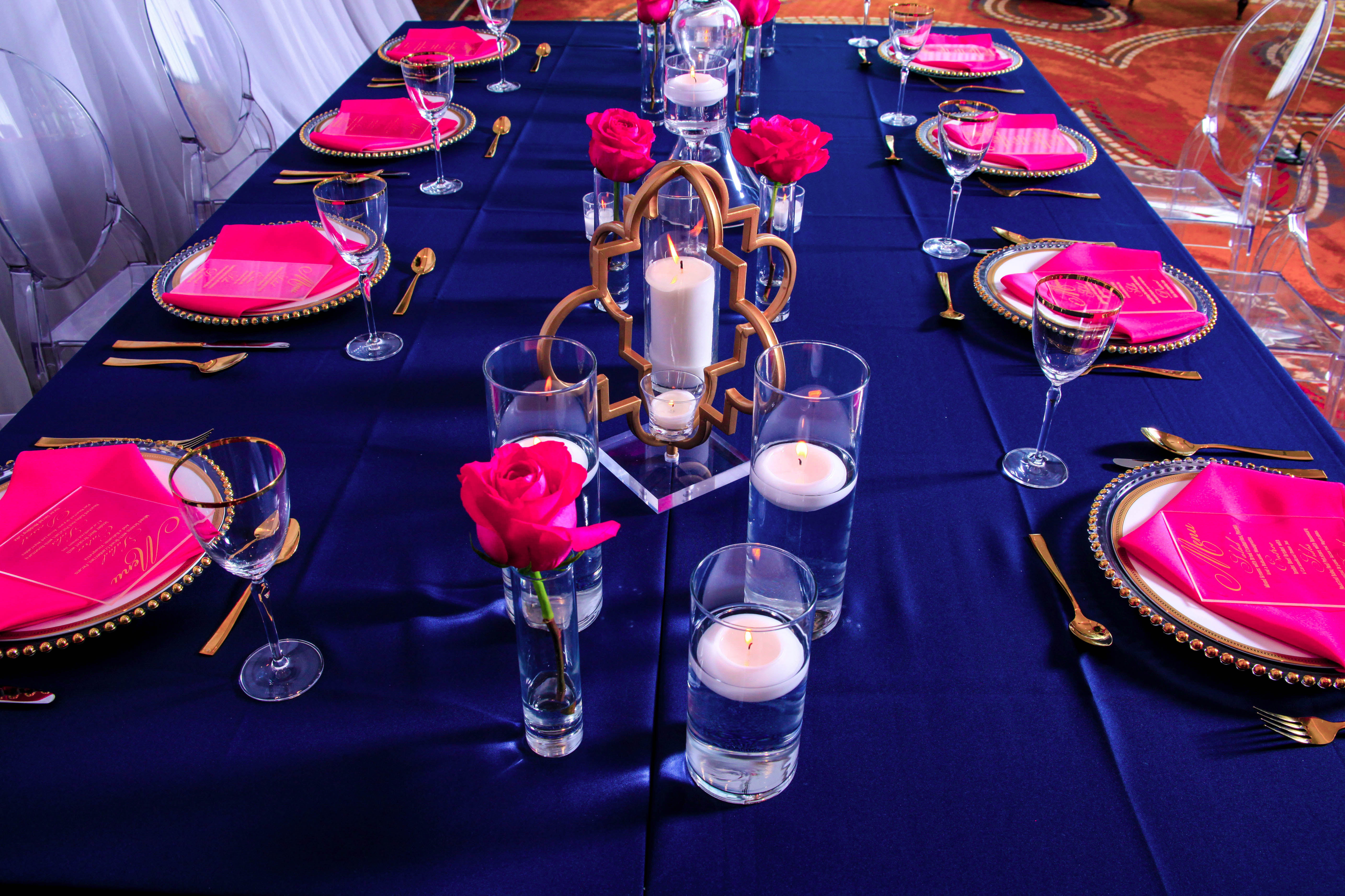 navy and pink reception ideas
