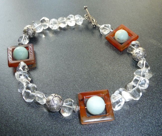Rock Crystal Carnelian Amazonite Silver Choker Niksaran Designs