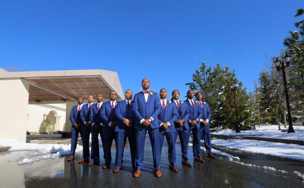 Groomsmen in blue suits Atlanta Wedding